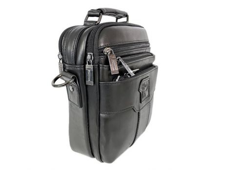 Кожаная мужская сумка Fuzhinino 6603 black