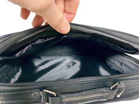 Мужская кожаная сумка портфель black 1028