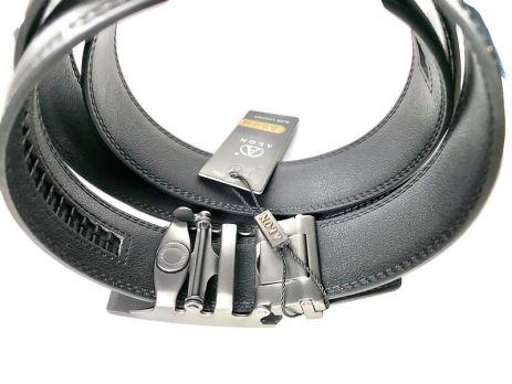 Ремень кожаный Алон автомат T-850106 чёрный