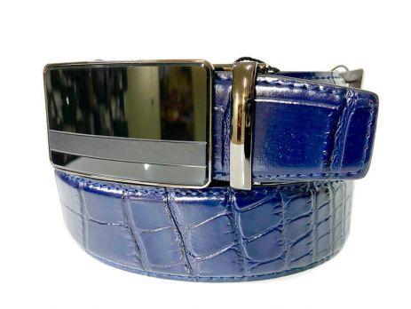 Кожаный ремень синий Alon B-40005