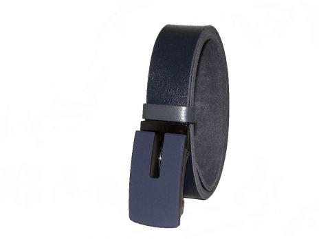 Ремень кожаный синий MZJM-3501bl зажим