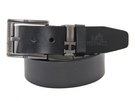 Ремень кожаный Hermes 2487 black