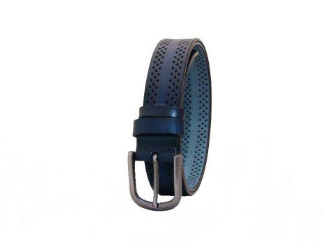 Синий кожаный женский ремень K3501-3bl
