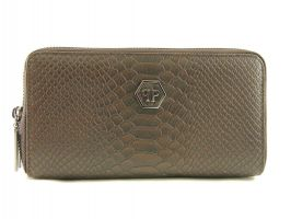 Кожаный клатч-кошелёк Philipp Plein 251 B Brown_0