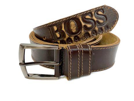 Кожаный ремень Boss brown 1300