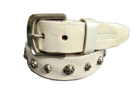 Ремень кожаный Diesel white