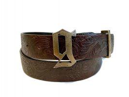 Ремень кожаный John Galliano (Гальяно) brown_0