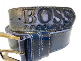 Кожаный ремень Boss blue 1338_3