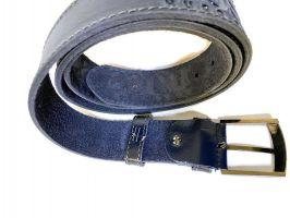 Кожаный ремень Boss blue 1338_2