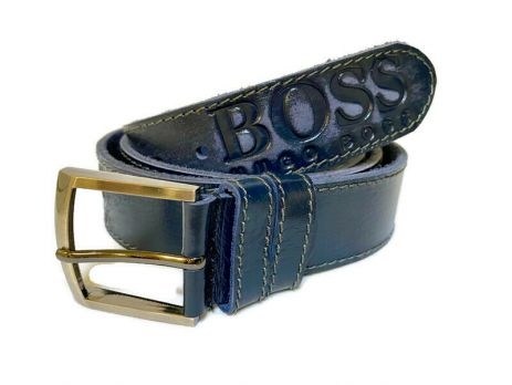 Кожаный ремень Boss blue 1338