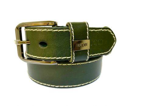 Ремень кожаный Gucci green 1341