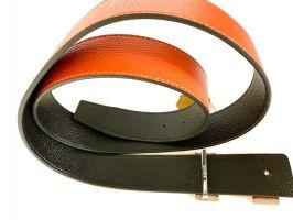Кожаный ремень Hermes двустороний Orange_3