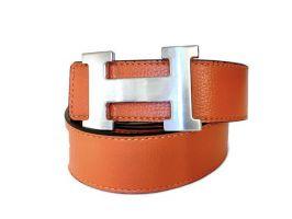 Кожаный ремень Hermes двустороний Orange_0