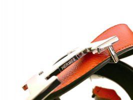 Кожаный ремень Hermes двустороний Orange_1