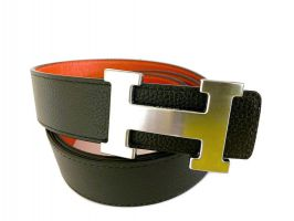Кожаный ремень Hermes двустороний Orange_2