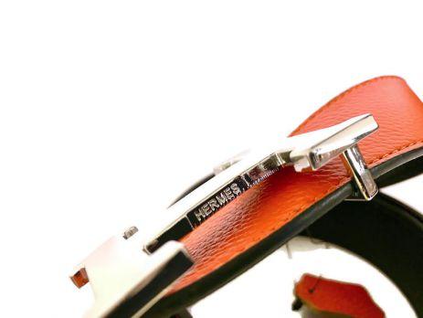 Кожаный ремень Hermes двустороний Orange