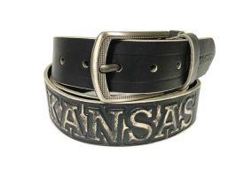 Ремень кожаный Kansas black old