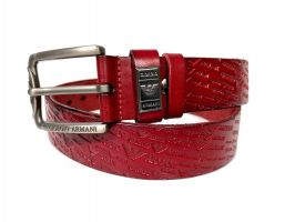 Кожаный ремень Armani red 1351_1