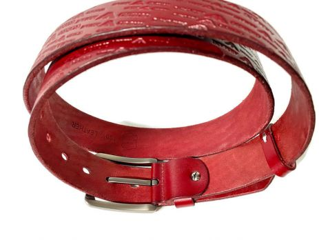 Кожаный ремень Armani red 1351