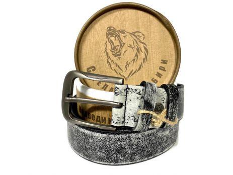 """Кожаный ремень """"Медведь"""" в подарочной упаковке 1358"""