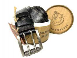 Ремень кожаный мужской с двойной застёжкой 1360