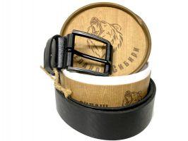 Ремень кожаный чёрный в подарочной упаковке 1370_2