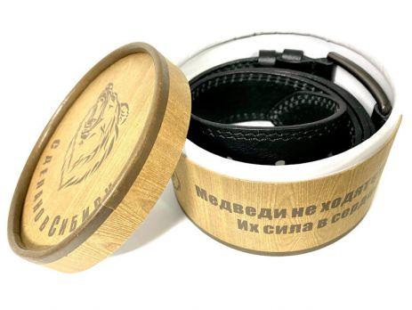 Ремень кожаный чёрный в подарочной упаковке 1370