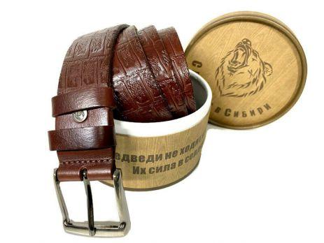 Ремень коричневый кожаный с тиснением 1371