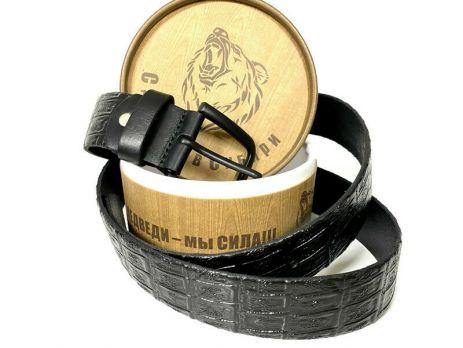 Ремень кожаный чёрный с тиснением ( в упаковке) 1374