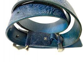 Ремень кожаный John Galliano (Гальяно) blue_2