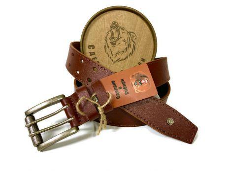 """Ремень """"Медведь"""" кожаный мужской с двойной застёжкой 1400"""