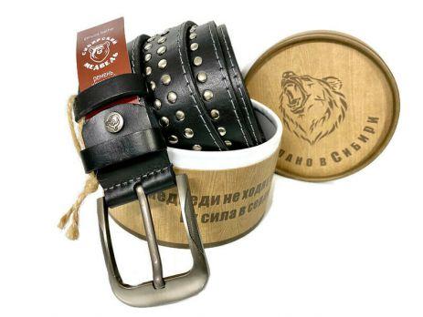 """Ремень кожаный """"Медведь"""" в подарочной упаковке 1401"""