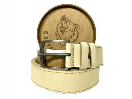 Ремень кожаный белый в подарочной упаковке 1424_0