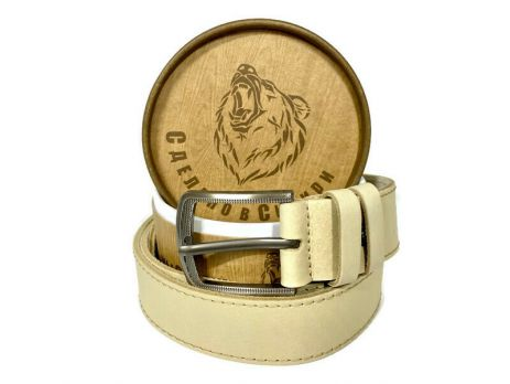 Ремень кожаный белый в подарочной упаковке 1424