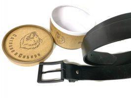 Ремень кожаный чёрный в подарочной упаковке 1425_2