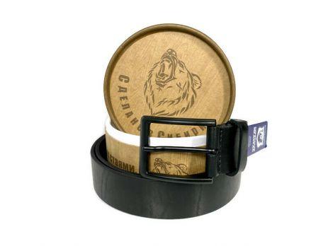 Ремень кожаный чёрный в подарочной упаковке 1425