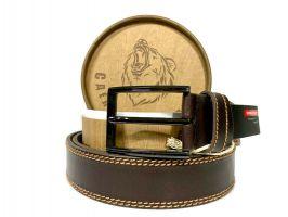 Ремень кожаный Коричневый в подарочной упаковке 1426