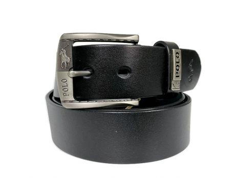 Ремень кожаный брендовый POLO 1437 black