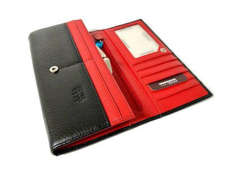 Кошелёк женский кожаный Petek 8071 A Black/Red