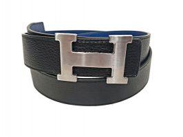 Кожаный ремень Hermes двустороний blue_3