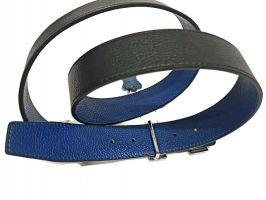 Кожаный ремень Hermes двустороний blue_2