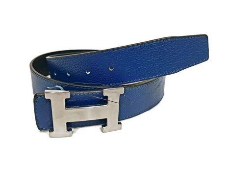 Кожаный ремень Hermes двустороний blue