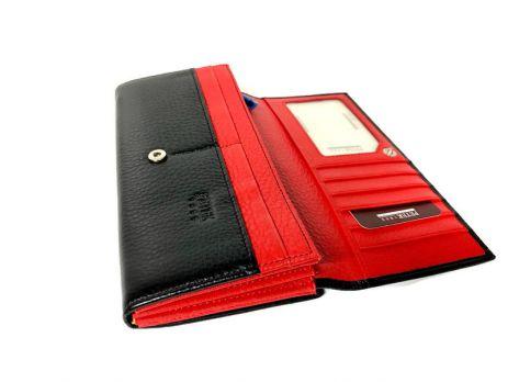 Кошелёк женский кожаный Petek 8074 A Black/Red