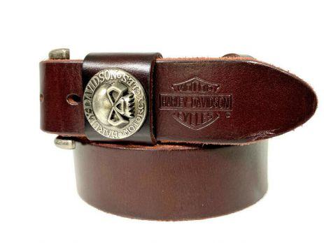 Ремень кожаный брендовый Harley Davidson 1521 bordo