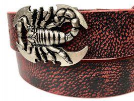 Ремень кожаный Scorpion red_3