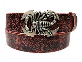 Ремень кожаный Scorpion red_0