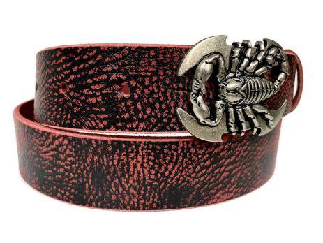 Ремень кожаный Scorpion red