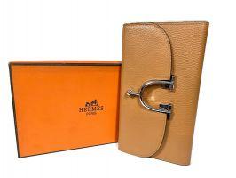 Кожаный женский клатч кошелёк Hermes 569 Apricot_0