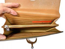 Кожаный женский клатч кошелёк Hermes 569 Apricot_5