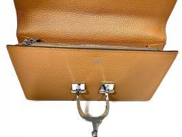 Кожаный женский клатч кошелёк Hermes 569 Apricot_4
